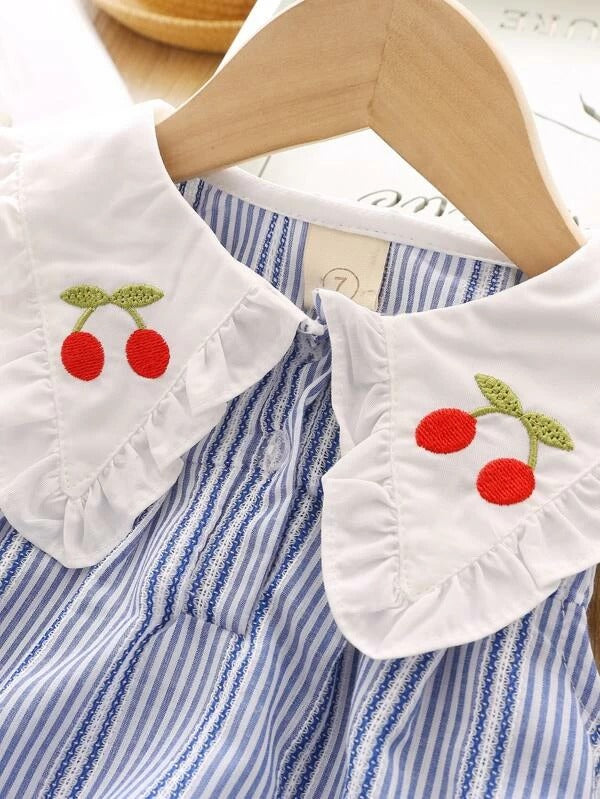 Toddler Girls Cherry Embroidery Stripe Top & Shorts