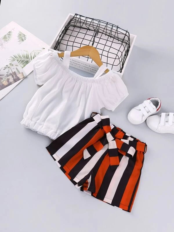 Toddler Girls Cold Shoulder Blouse & Stripe Belted Shorts