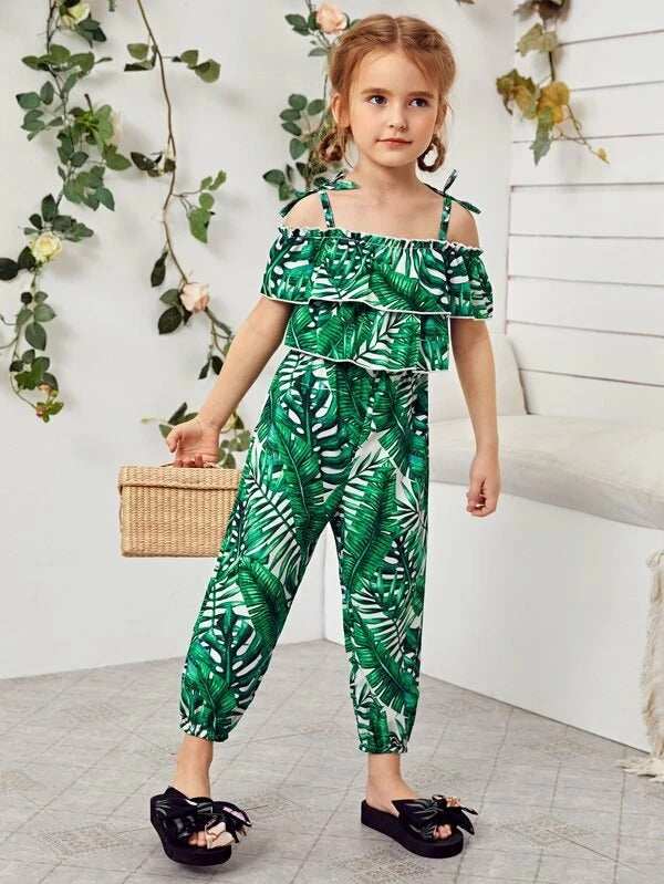 Toddler Girls Cold Shoulder Tropical Print Knotted Jumpsuit