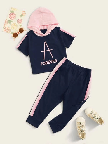 Toddler Girls Color-block Letter Hooded Tee With Joggers