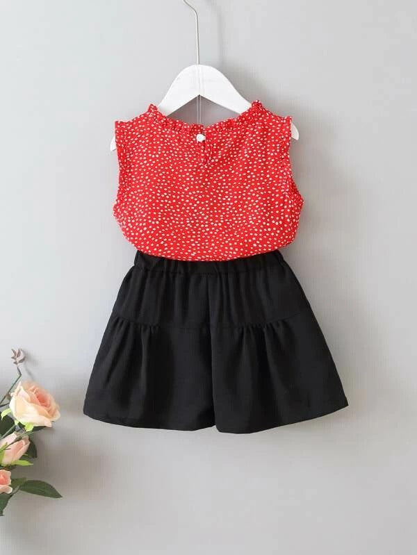 Toddler Girls Confetti Frill Chiffon Blouse & Shorts
