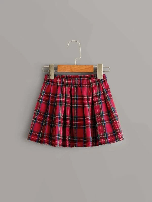 Toddler Girls Contrast Frill Blouse With Tartan Skirt