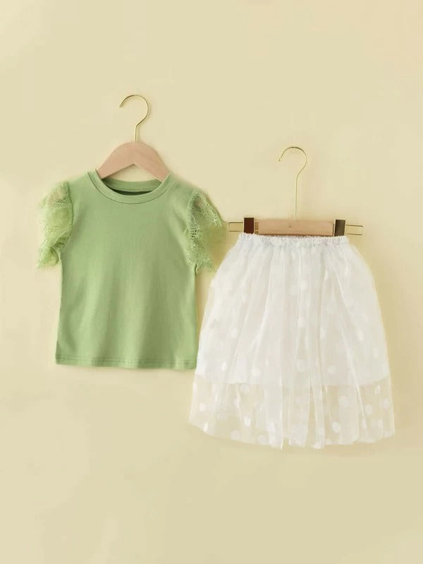 Toddler Girls Contrast Lace Trim Tee With Polka Dot Skirt