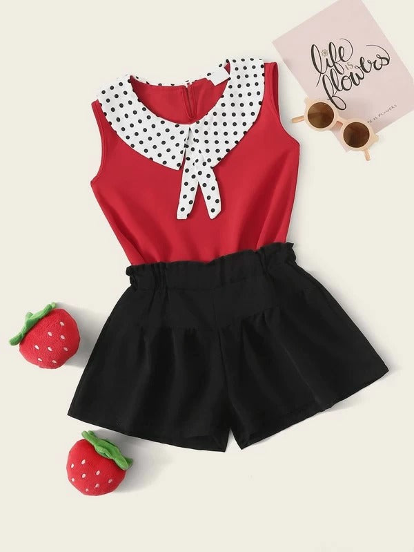 Toddler Girls Contrast Polka Dot Collar Blouse With Shorts