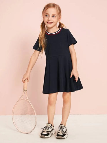 Toddler Girls Contrast Striped A-line Dress