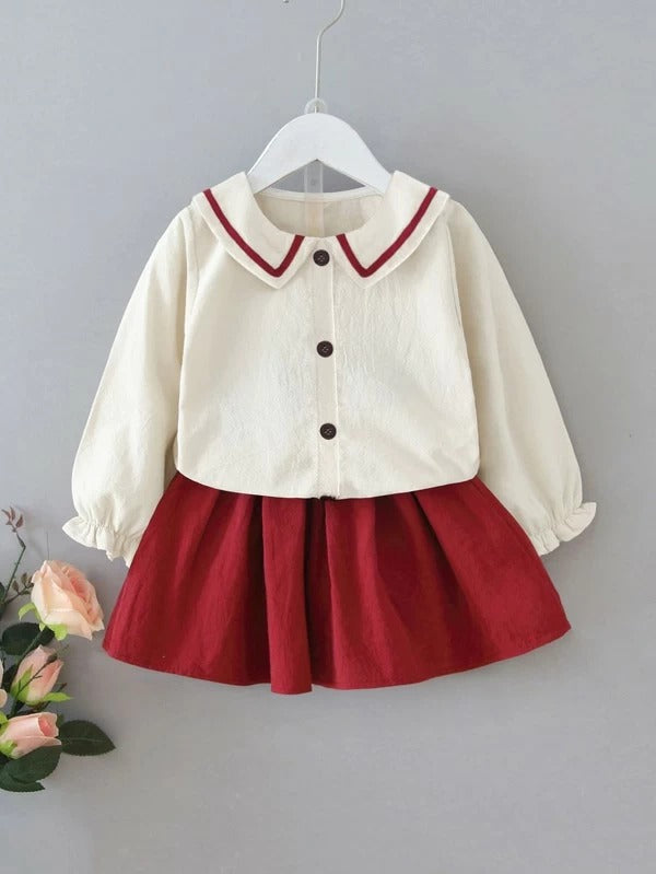 Toddler Girls Contrast Tape Frill Cuff Blouse With Skirt