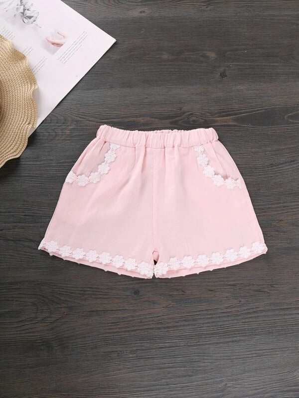 Toddler Girls Ditsy Floral Lace Trim Top & Applique Shorts