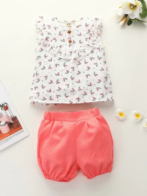 Toddler Girls Ditsy Floral Print Ruffle Trim Top With Polka Dot Shorts