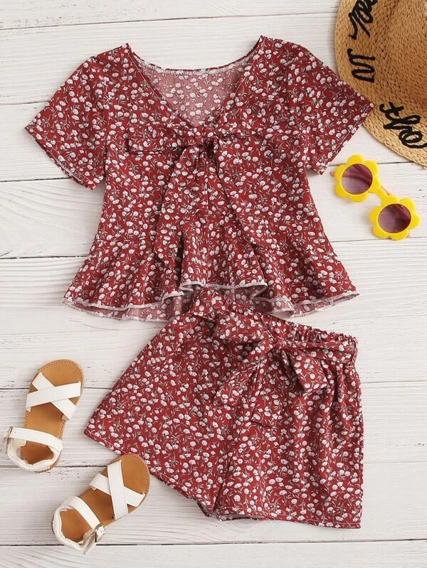 Toddler Girls Ditsy Floral Tie Front Blouse & Belted Shorts