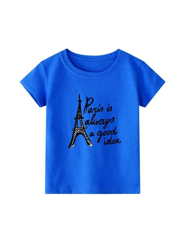 Toddler Girls Eiffel Tower & Slogan Graphic Tee