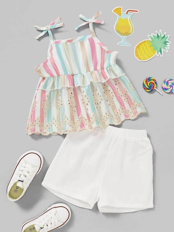Toddler Girls Eyelet Embroidery Striped Cami Top & Shorts