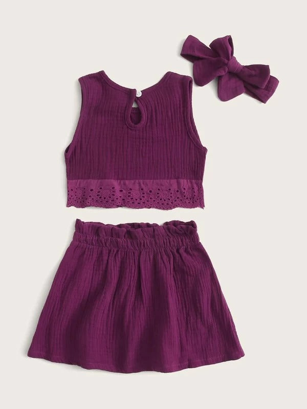 Toddler Girls Eyelet Embroidery Tank Top & Skirt & Headband