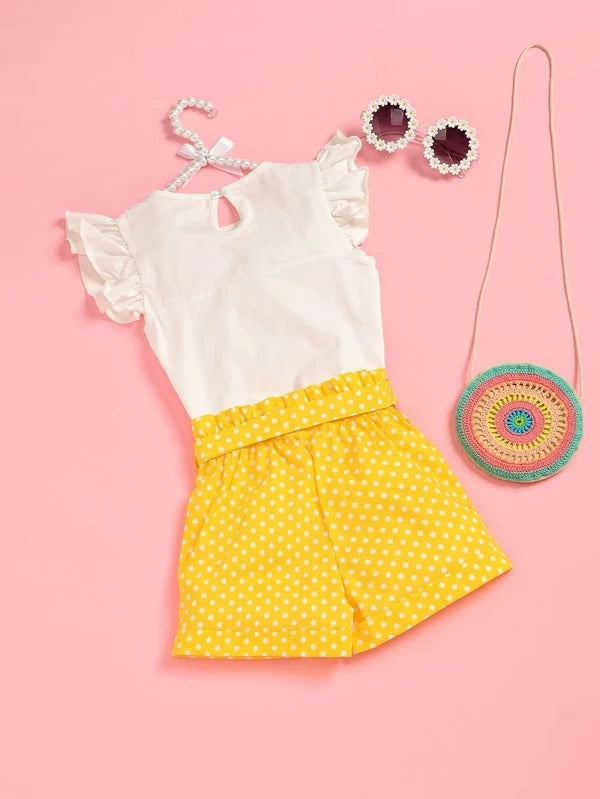 Toddler Girls Eyelet Embroidery Top & Polka Dot Belted Shorts