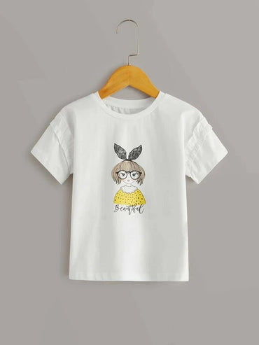 Toddler Girls Figure Graphic Frill Trim Tee