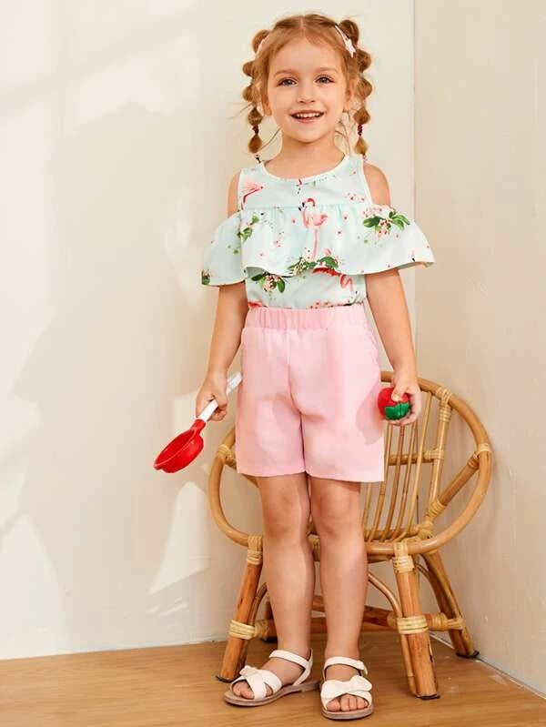 Toddler Girls Flamingo Print Ruffle Top & Shorts