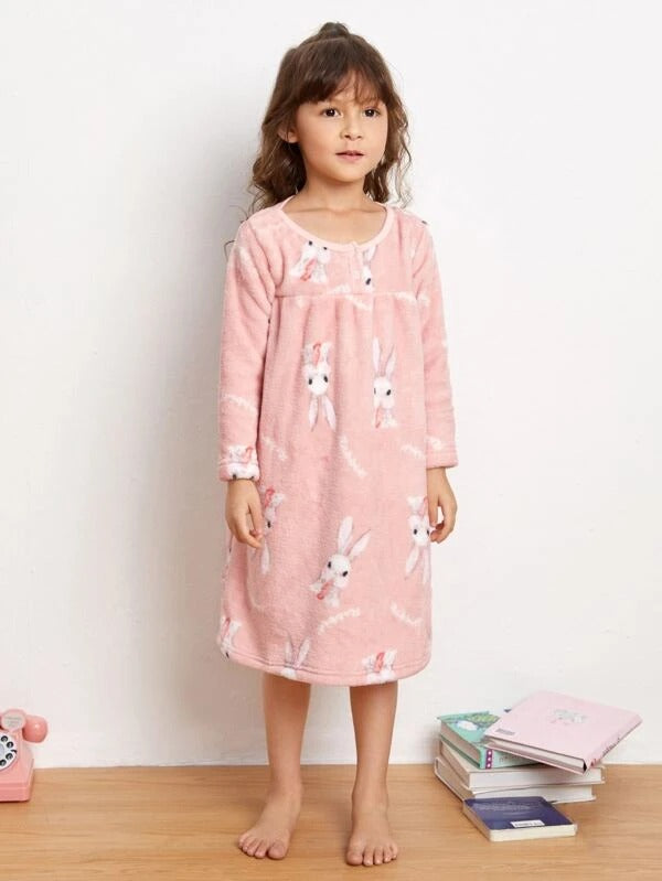 Toddler Girls Flannel Rabbit Print Nightdress