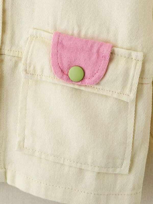 Toddler Girls Flap Pocket Button Up Jacket