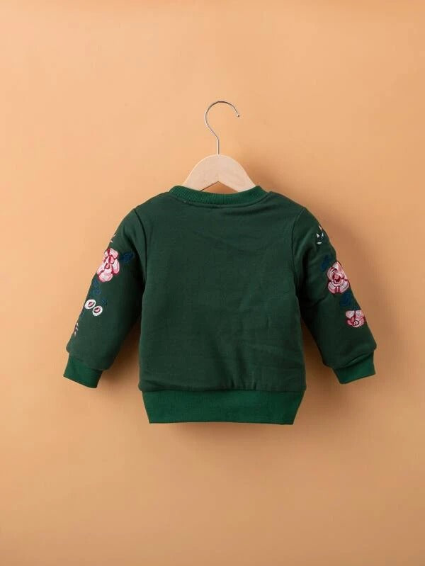 Toddler Girls Floral Embroidery Shearling Lined Sweatshirt