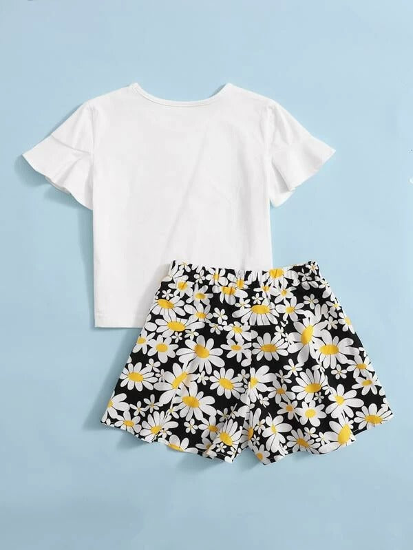 Toddler Girls Floral Flounce Sleeve Tee With Shorts