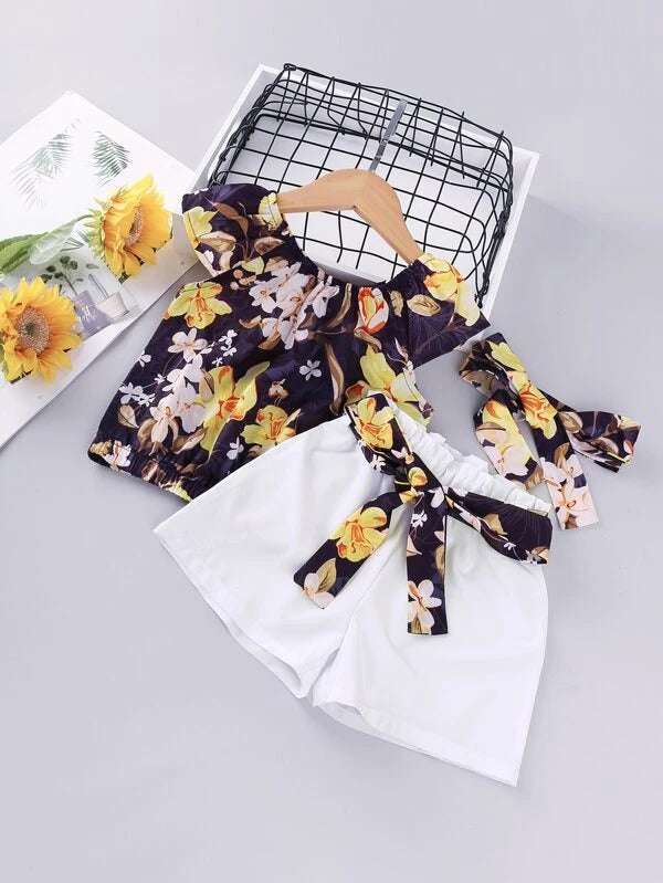 Toddler Girls Floral Print Blouse & Belted Shorts & Headband