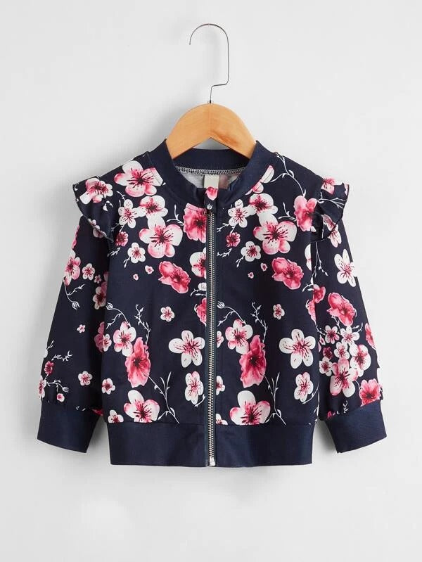 Toddler Girls Floral Print Ruffle Trim Bomber Jacket