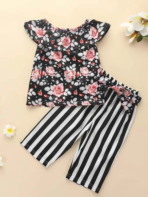 Toddler Girls Floral Print Top & Striped Belted Pants