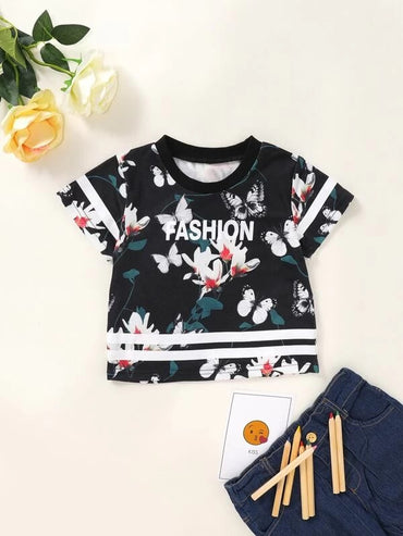 Toddler Girls Floral & Letter Graphic Tee