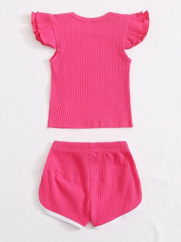 Toddler Girls Frill Cuff Tee & Dolphin Shorts