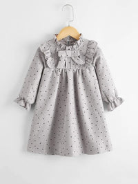 Toddler Girls Frill Neck Bow Front Polka Dot Dress