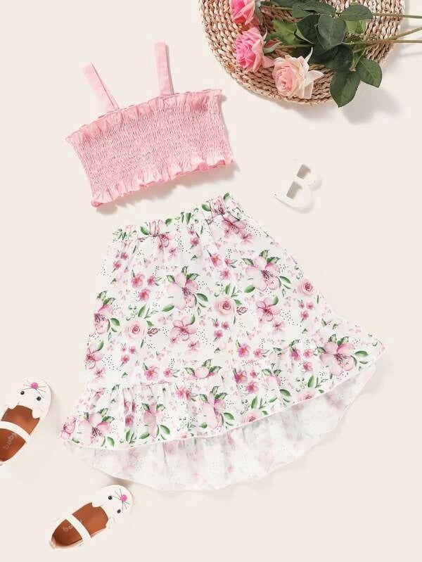 Toddler Girls Frill Shirred Cami Top & Floral Skirt