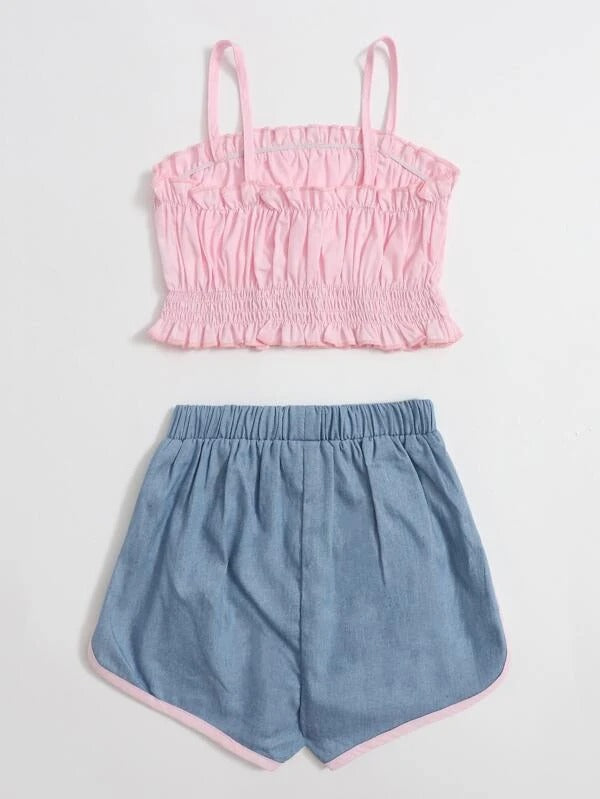 Toddler Girls Frill Trim Cami Top & Shorts