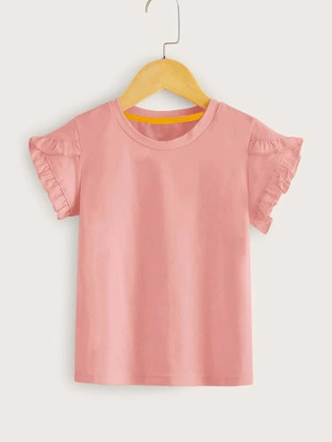 Toddler Girls Frill Trim Solid Tee