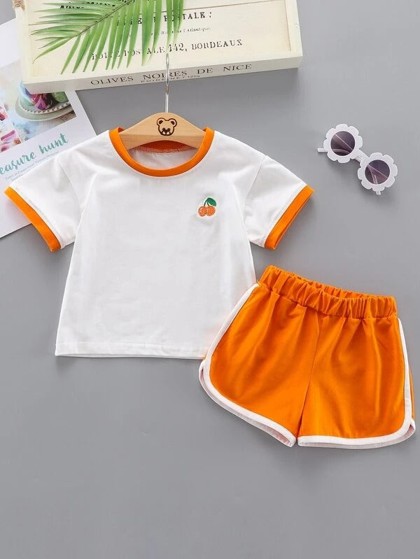 Toddler Girls Fruit Embroidered Tee With Track Shorts