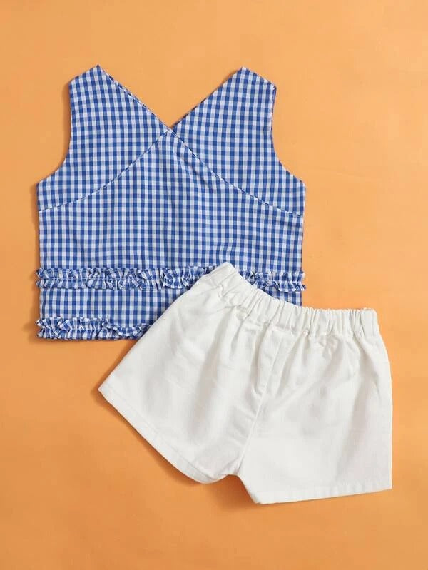 Toddler Girls Gingham Frill Trim Tank Top & Shorts