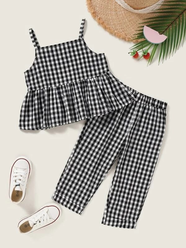 Toddler Girls Gingham Peplum Cami Top With Pants