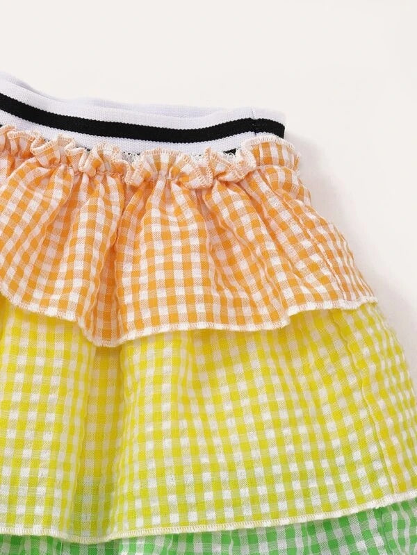 Toddler Girls Gingham Shirred Cami Top With Layered Skirt