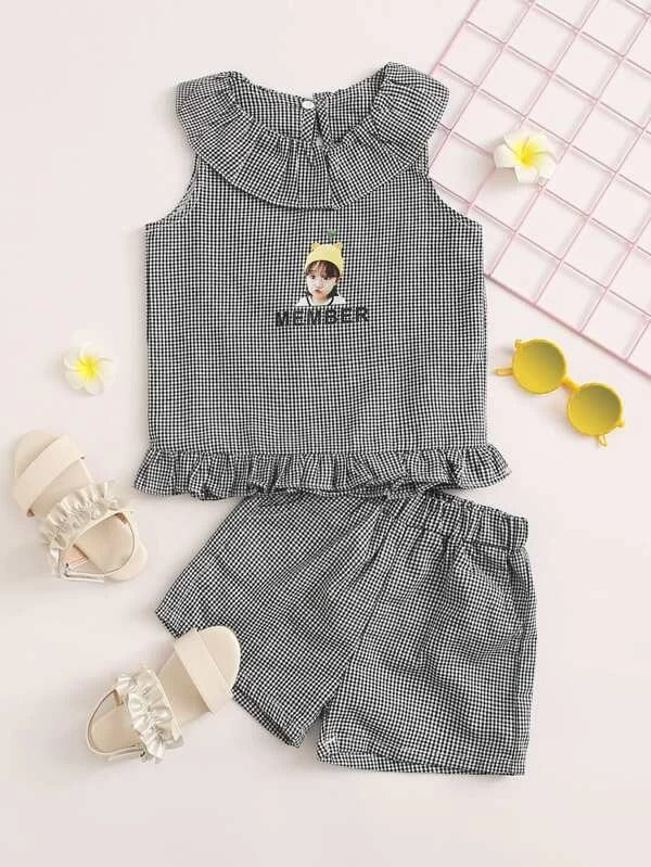 Toddler Girls Gingham & Figure Graphic Top With Shorts