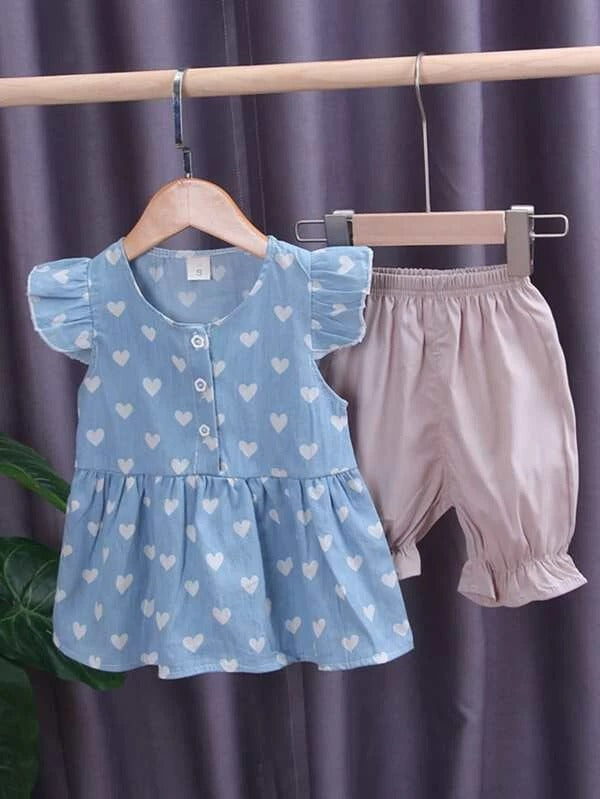 Toddler Girls Heart Print Peplum Blouse With Shorts