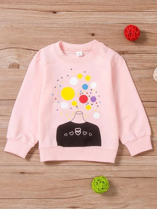 Toddler Girls Heart & Polka Dot Sweatshirt