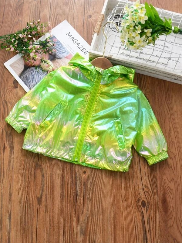 Toddler Girls Holographic Hooded Sunproof Jacket