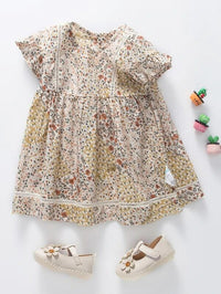 Toddler Girls Lace Insert Ditsy Floral Print Smock Dress