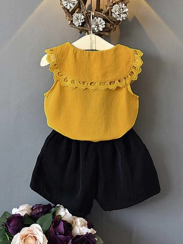 Toddler Girls Lace Panel Tie Neck Blouse & Shorts
