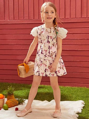 Toddler Girls Lace Sleeve Floral A-line Dress