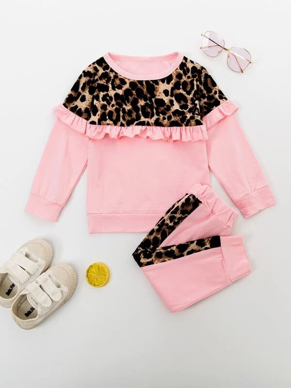 Toddler Girls Leopard Print Frill Trim Sweatshirt With Pants