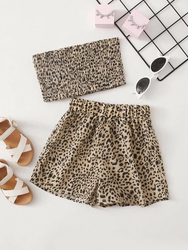 Toddler Girls Leopard Print Shirred Tube Top & Shorts