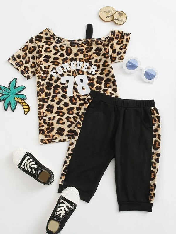Toddler Girls Leopard & Letter Graphic Asymmetrical Neck Tee With Shorts