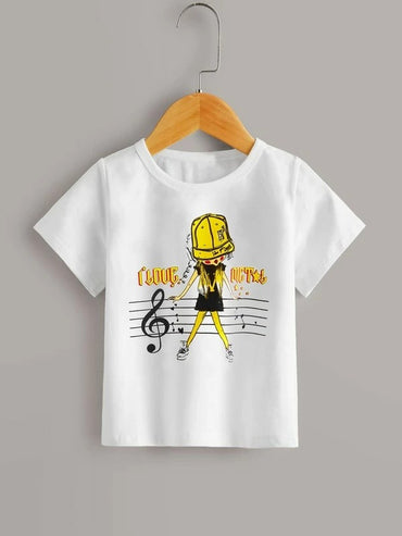 Toddler Girls Letter And Figure Graphic Tee