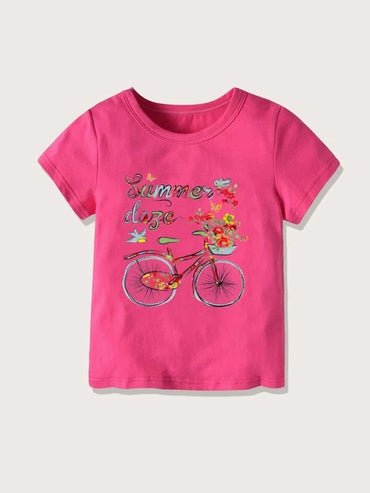Toddler Girls Letter And Graphic Print Tee