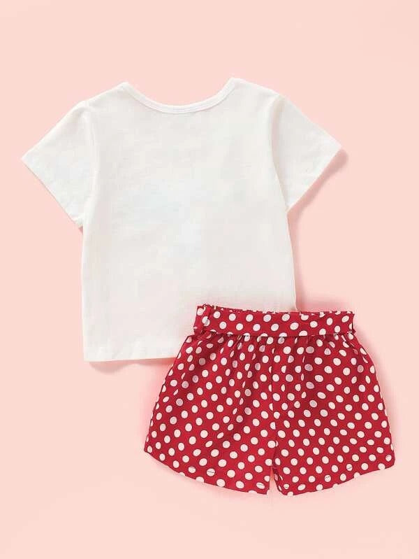 Toddler Girls Letter Graphic Bow Tee With Polka Dot Shorts