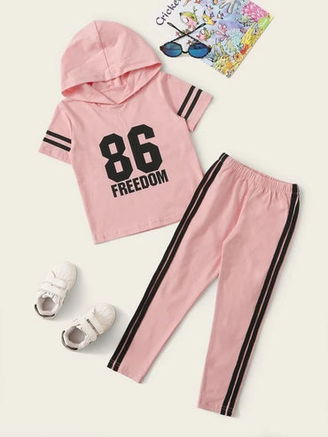 Toddler Girls Letter Graphic Hooded Tee With Side Stripe Pants